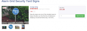 Alarm Grid Yard Sign