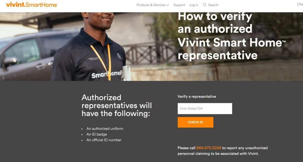 Vivint Scam - Vivint Sales Rep verification page