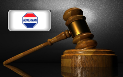 Ackerman Security Reviews - Ackerman Security logo with gavel