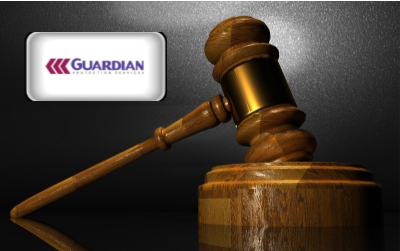 Guardian Security Reviews - Guardian Home Security logo with gavel