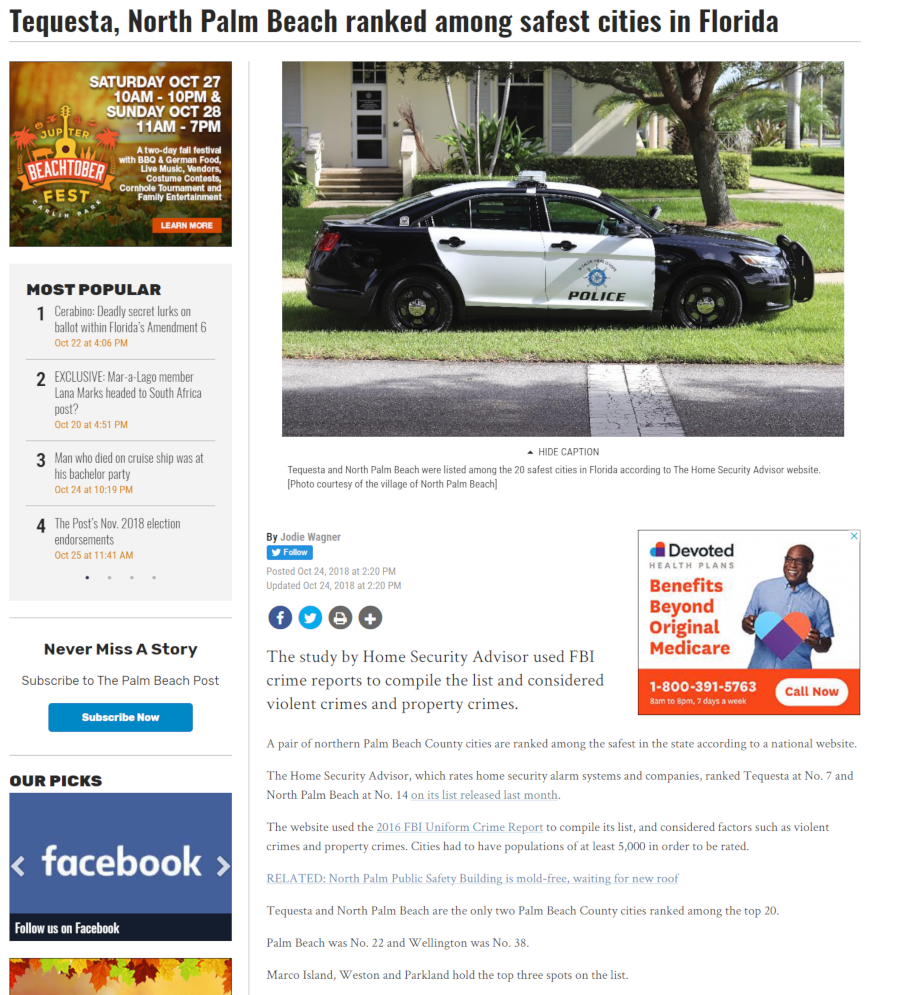 North Palm Beach Post Press Release