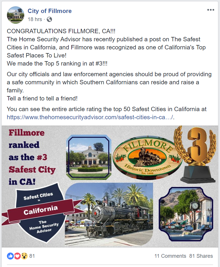 Town of Fillmore Facebook Post