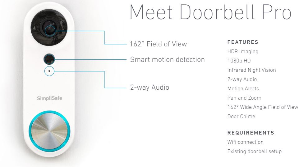 SimpliSafe Doorbell - Features and Specs of the SimpliSafe Video Doorbell